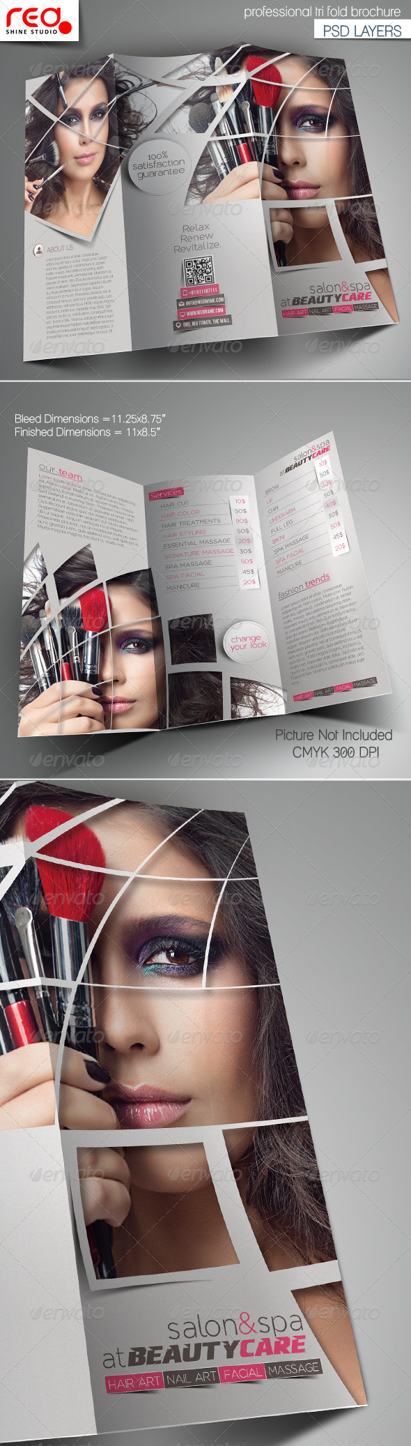 Beauty Care & Salon Trifold Brochure Template - Catalogs Brochures