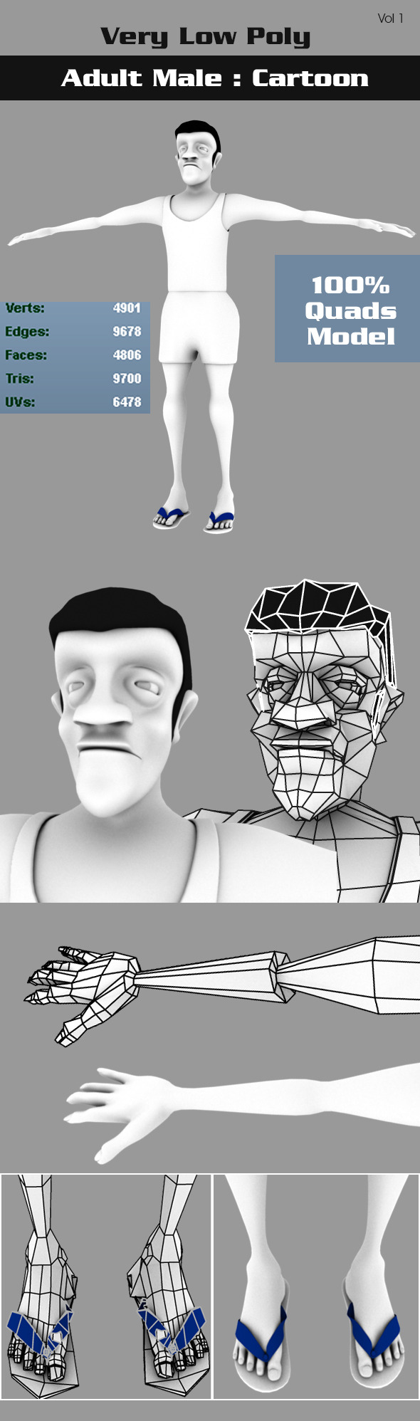 3DOcean Low Poly Adult Male Cartoon 7570423
