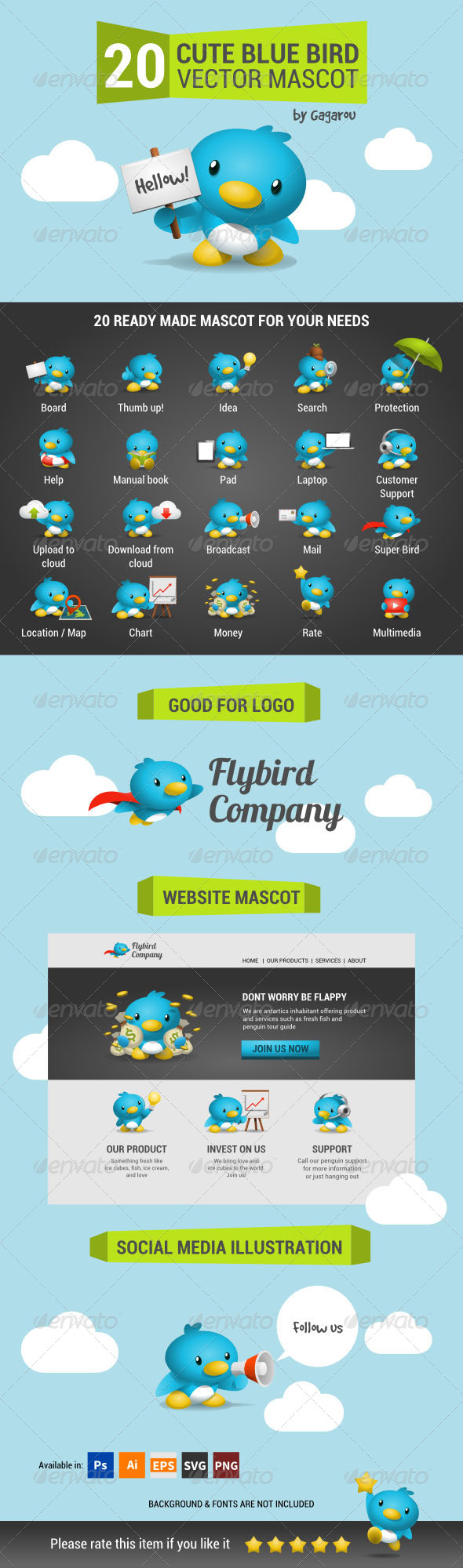 Cute Blue Bird Mascot Pack