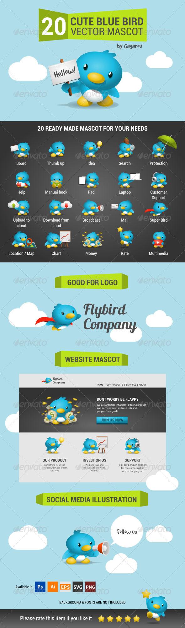 GraphicRiver Cute Blue Bird Mascot Pack 7526596