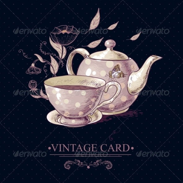 GraphicRiver Vintage Card with Cup of Tea or Coffee and Pot 7570597