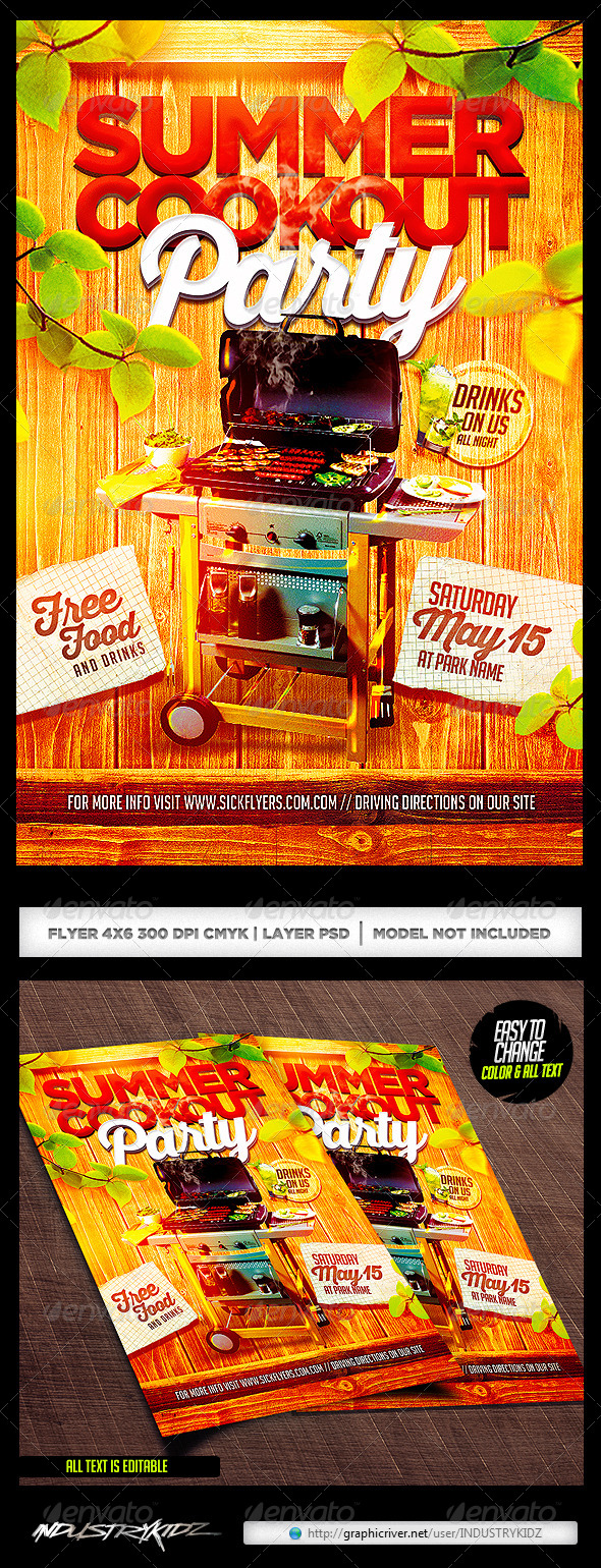 Summer Cookout Party Flyer PSD - Clubs & Parties Events