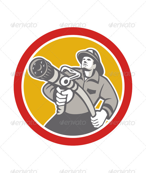 GraphicRiver Fireman Firefighter Aiming Fire Hose Circle 7571018