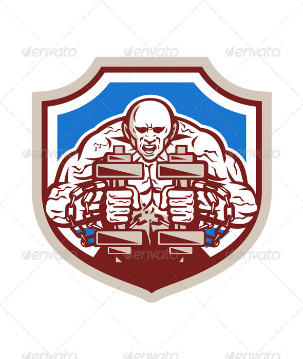 GraphicRiver Strongman Lifting Dumbbells Shield Retro 7571230