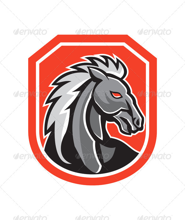 GraphicRiver Horse Head Shield Retro 7571242