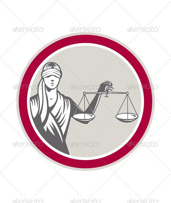 GraphicRiver Lady Blindfolded Holding Scales Justice Circle 7571255