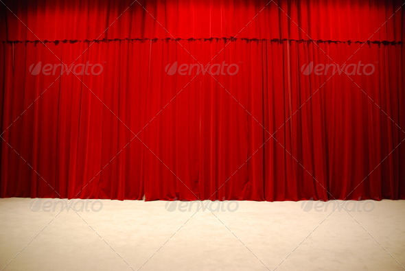 Stock Photo - PhotoDune Red draped theater stage curtains 778329