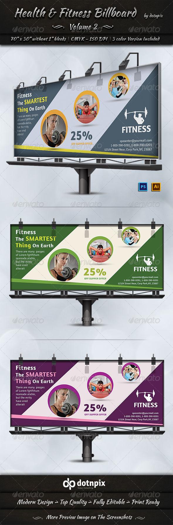 GraphicRiver Health & Fitness Billboard Template Volume 2 7571615
