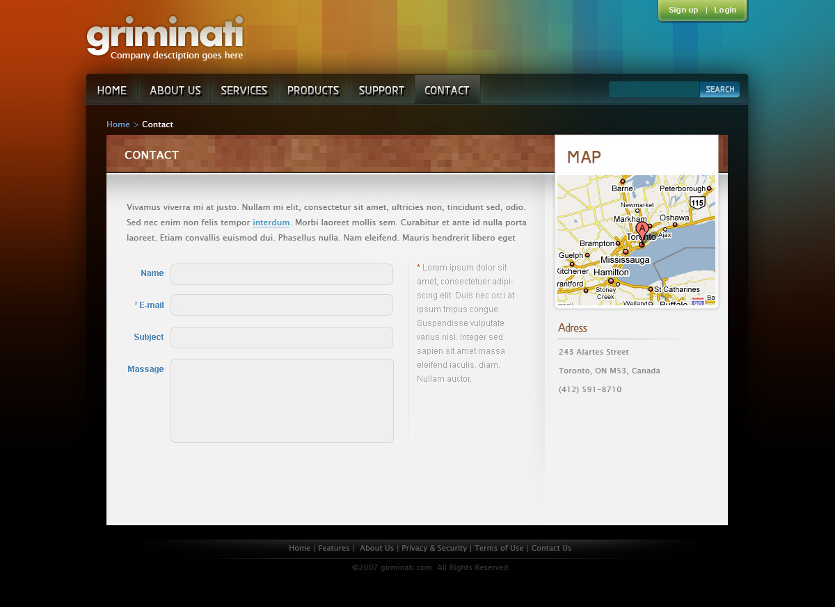Griminati Business Website Layout