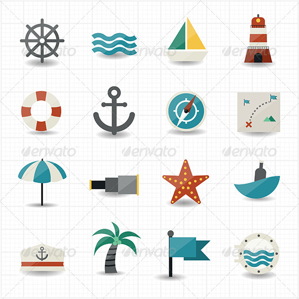GraphicRiver Nautical and Sea Icons 7572066