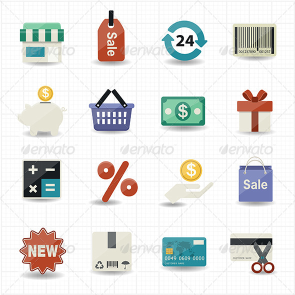 GraphicRiver Business And Shopping Icons with White Background 7572080