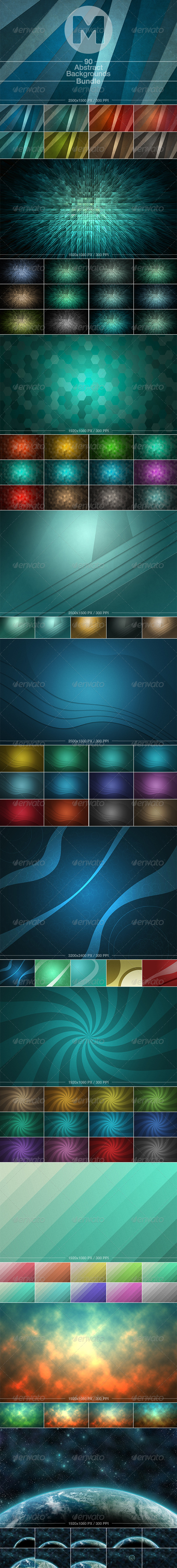 GraphicRiver 90 Abstract Backgrounds Bundle 7549689