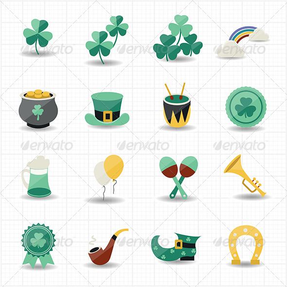 GraphicRiver St Patricks Day Icons with White Background 7572103