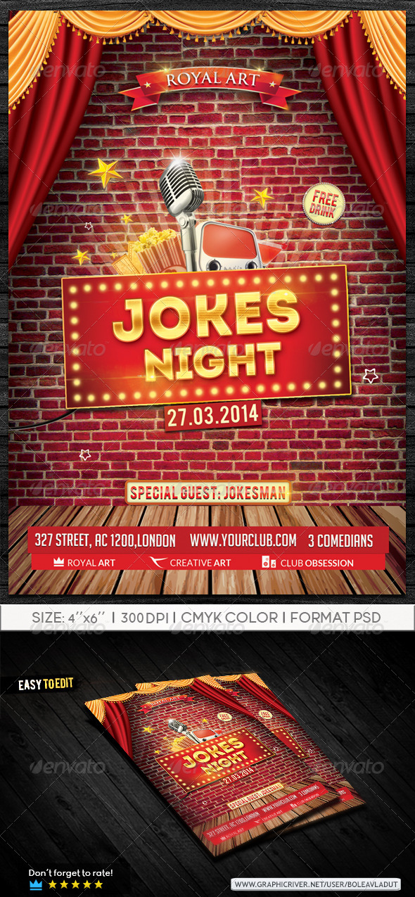 GraphicRiver Jokes Night Flyer 7568251