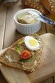 Liver paste sandwich with vegetables arugula and boiled egg - PhotoDune Item for Sale