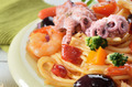 Seafood spaghetti pasta dish with octopus shrimps - PhotoDune Item for Sale