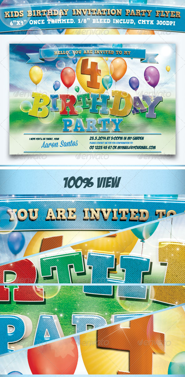 GraphicRiver Kids Birthday Invitation Party Flyer 7573011