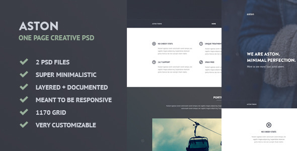 ThemeForest ASTON Minimalistic Creative One Page PSD 7573070