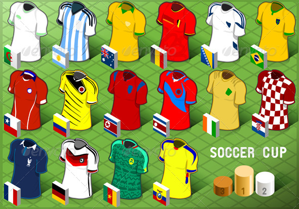 GraphicRiver Isometric Uniforms Set of Soccer Cup 7564939