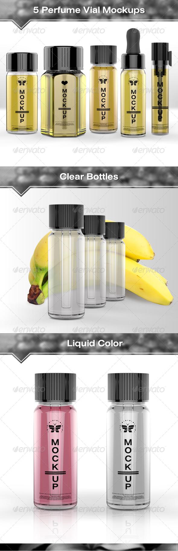 GraphicRiver 5 Perfume Vial Mock-Ups 7573290
