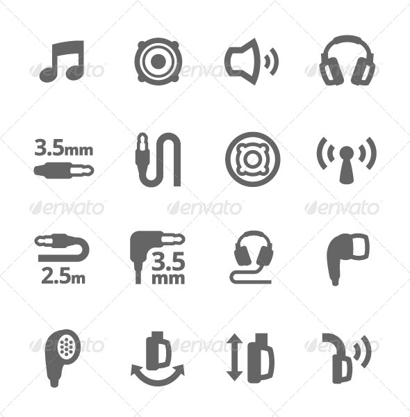 GraphicRiver Headphones Features Icons 7573613