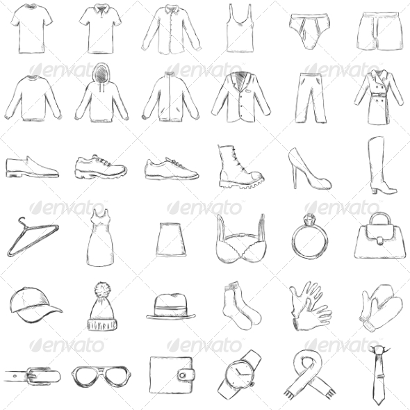 GraphicRiver Vector Set of Sketch Clothes Icons 7573627