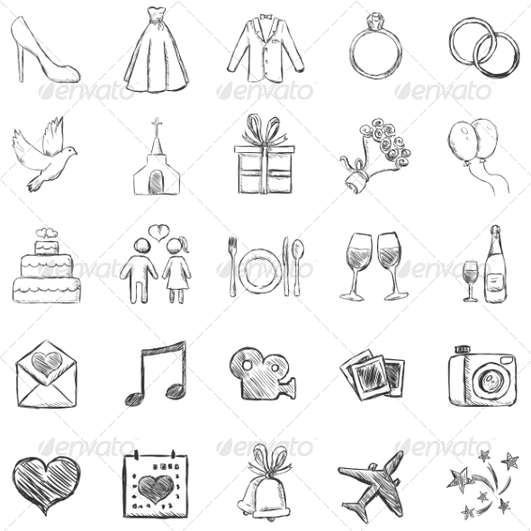 GraphicRiver Set of Sketch Weddings Icons 7573633