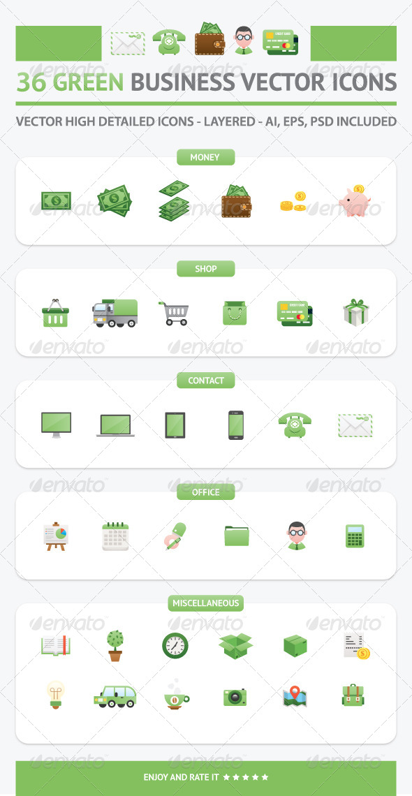 36 Green Business Vector Icons - Web Icons
