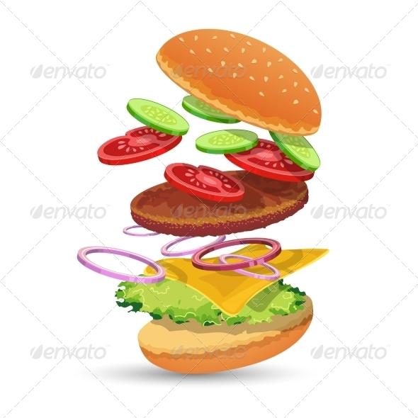 GraphicRiver Hamburger Ingredients Emblem 7573775