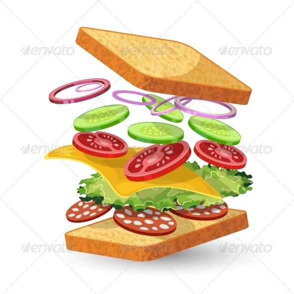 GraphicRiver Salami Sandwich Ingredients Emblem 7573780