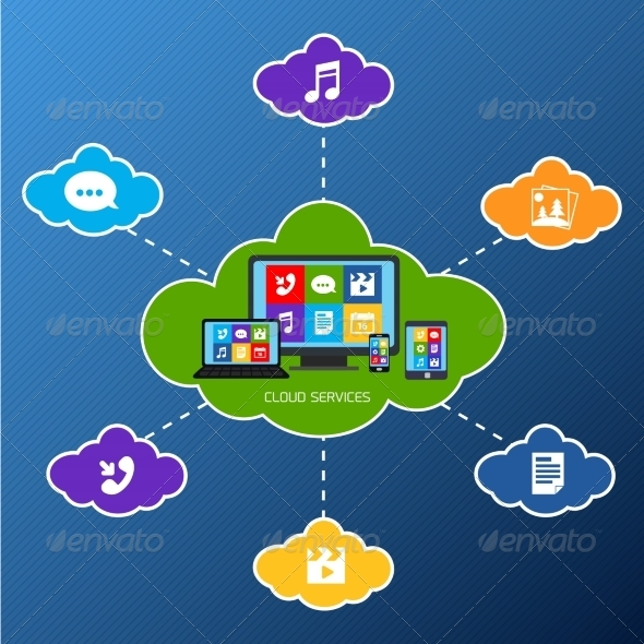 GraphicRiver Mobile Cloud Services Flat 7573887