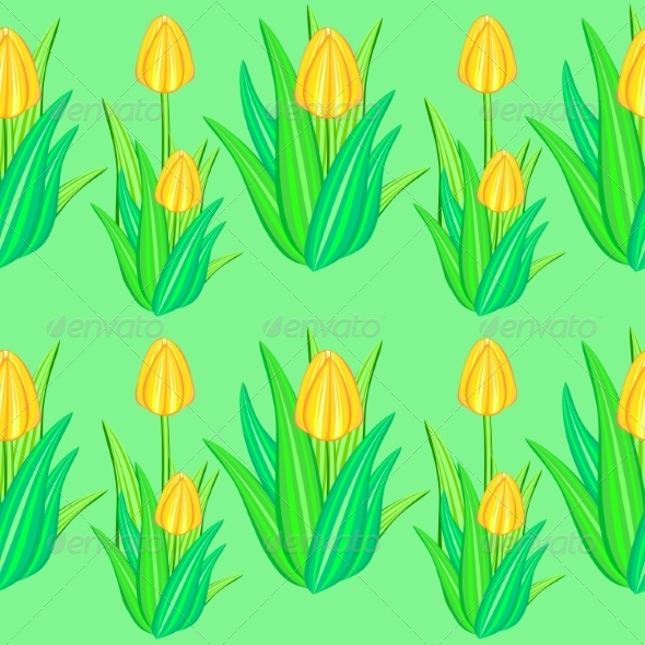 GraphicRiver Yellow Tulip Seamless Pattern 7573901