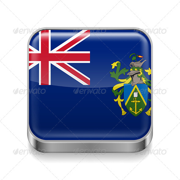 GraphicRiver Metal Icon of Pitcairn Islands 7573926