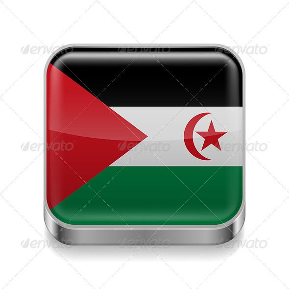 GraphicRiver Metal Icon of Sahrawi Arab Democratic Republic 7573932