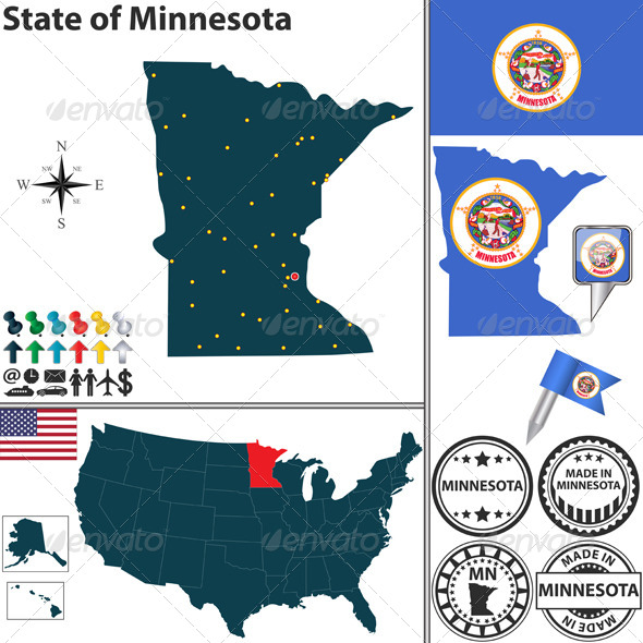 GraphicRiver Map of State Minnesota USA 7573990