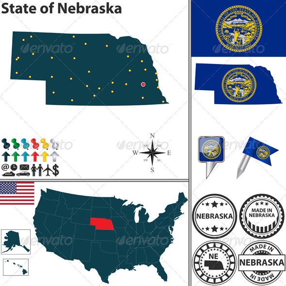 GraphicRiver Map of State Nebraska USA 7574040