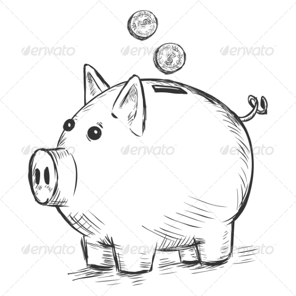 GraphicRiver Piggy Bank Sketch 7574060