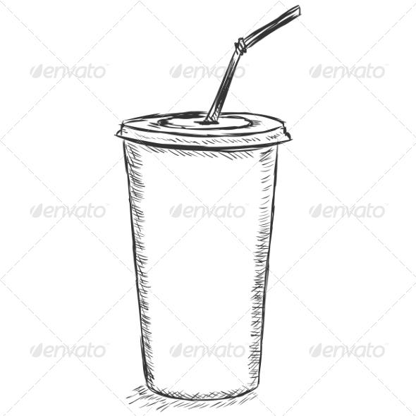 GraphicRiver Plastic Cup Sketch 7574066