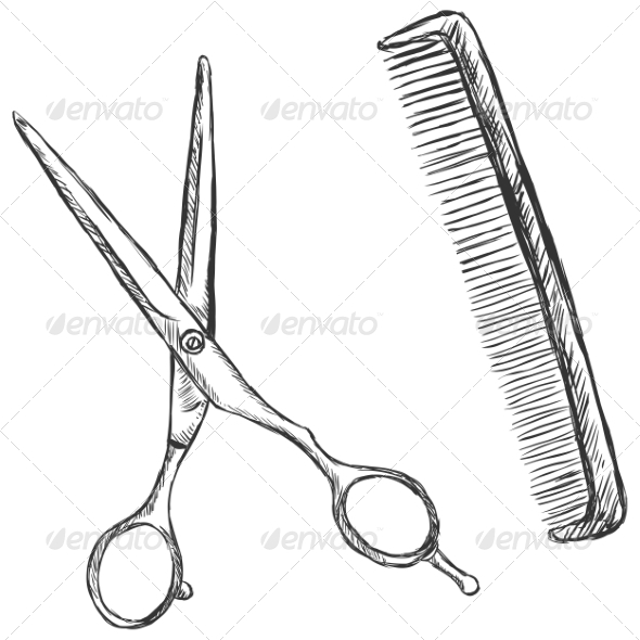 GraphicRiver Scissors and Comb 7574072