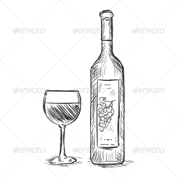 GraphicRiver Glass and Bottle of Wine 7574182