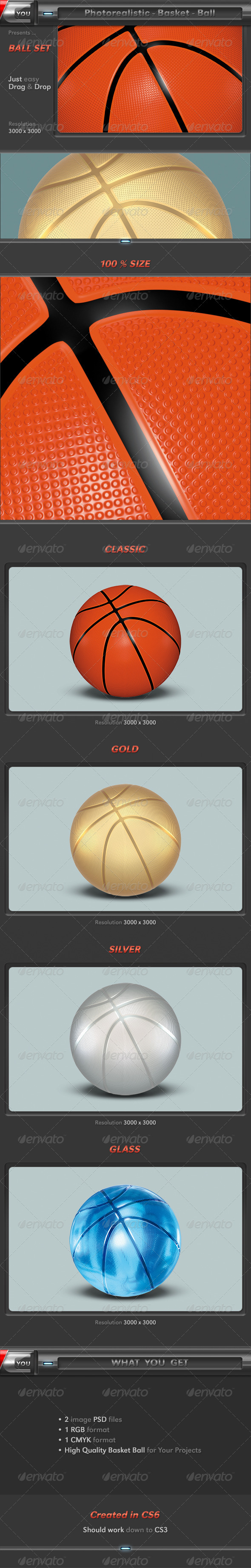 Basketball as 3D Photorealistic Ball Set - Objects 3D Renders