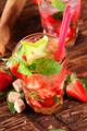 Fresh strawberry mojito drink