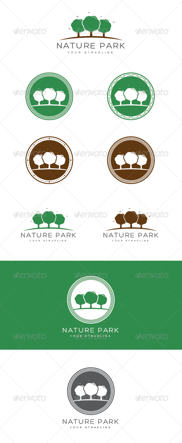 GraphicRiver Nature Park Emblem Logo Set 7574271