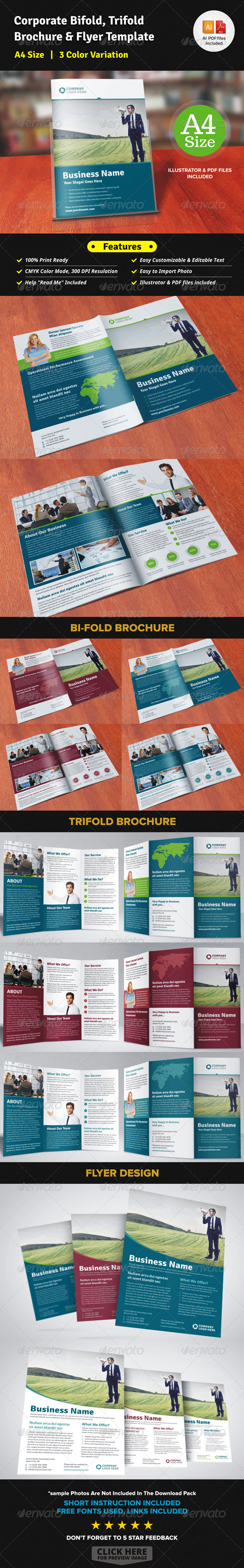 Corporate Bifold Trifold Brochure & Flyer Templat