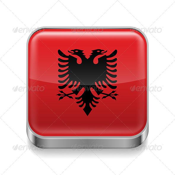 GraphicRiver Metal Icon of Albania 7574362
