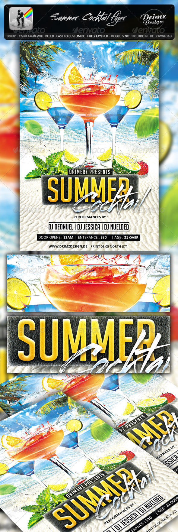 GraphicRiver Summer Cocktail Flyer 7574386