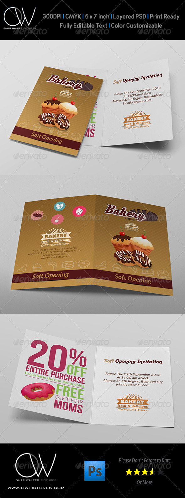 GraphicRiver Bakery Soft Opening Invitation Card Template 7574394