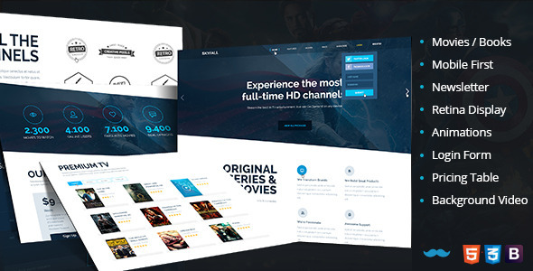 ThemeForest Skyfall Tv-Entertainment Book Store Landing Page 7574404