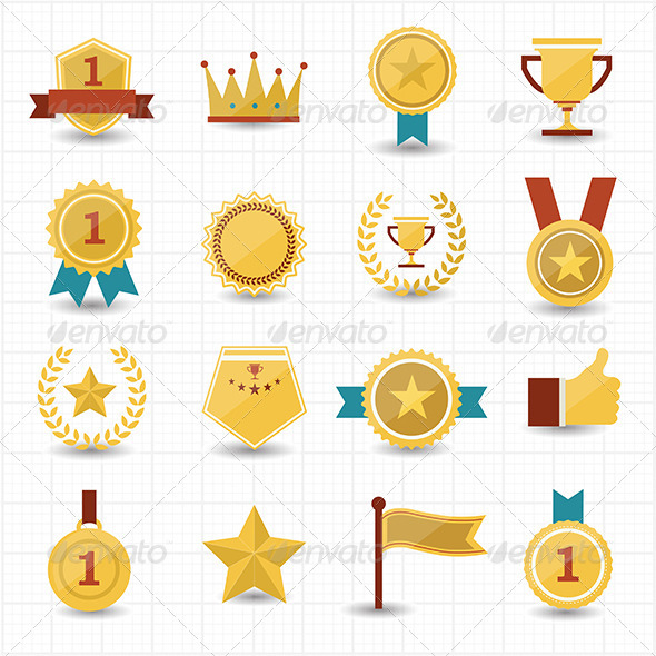 GraphicRiver Trophy and Prize Icons with White Background 7574414