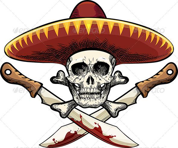 GraphicRiver Skull with Machete 7574494